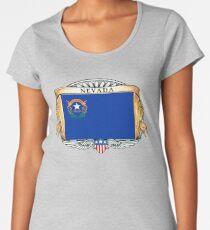 Nevada Art Deco Design with Flag Women's Premium T-Shirt