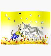 © Unicorns and Kangaroos Easter basket Poster