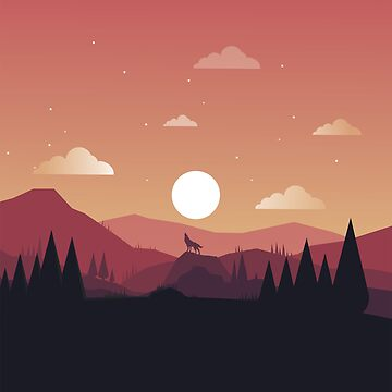 Flat Design Landscape Sunset Wolf Vintage Poster by astralprints