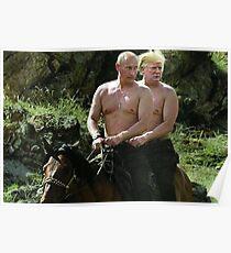 Trump und Putin Reitpferd Meme Poster