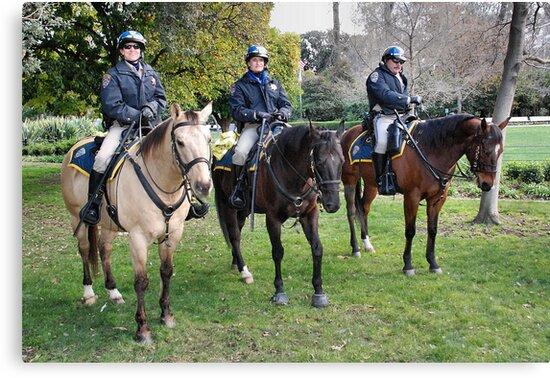 Three CHP officers and their three CHP riders by Lenny La Rue, IPA