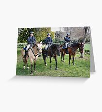 Three CHP officers and their three CHP riders Greeting Card