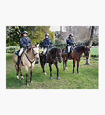 Three CHP officers and their three CHP riders Photographic Print