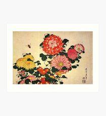 'Chrysanthemum and Bee' by Katsushika Hokusai (Reproduction) Art Print