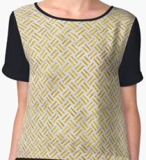 WOVEN2 WHITE MARBLE & YELLOW MARBLE (R) Chiffon Top