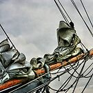 BOWSPRIT OF OLD SHIP (bowsprit showing the staysail and foresail hanked on the forestay and headstay. by karo