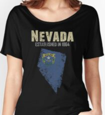 State of Nevada Apparel with official flag on a distressed state map Women's Relaxed Fit T-Shirt