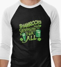 Saint Patricks Day Beer Drinking St Pattys Irish Shenanigans Men's Baseball ¾ T-Shirt