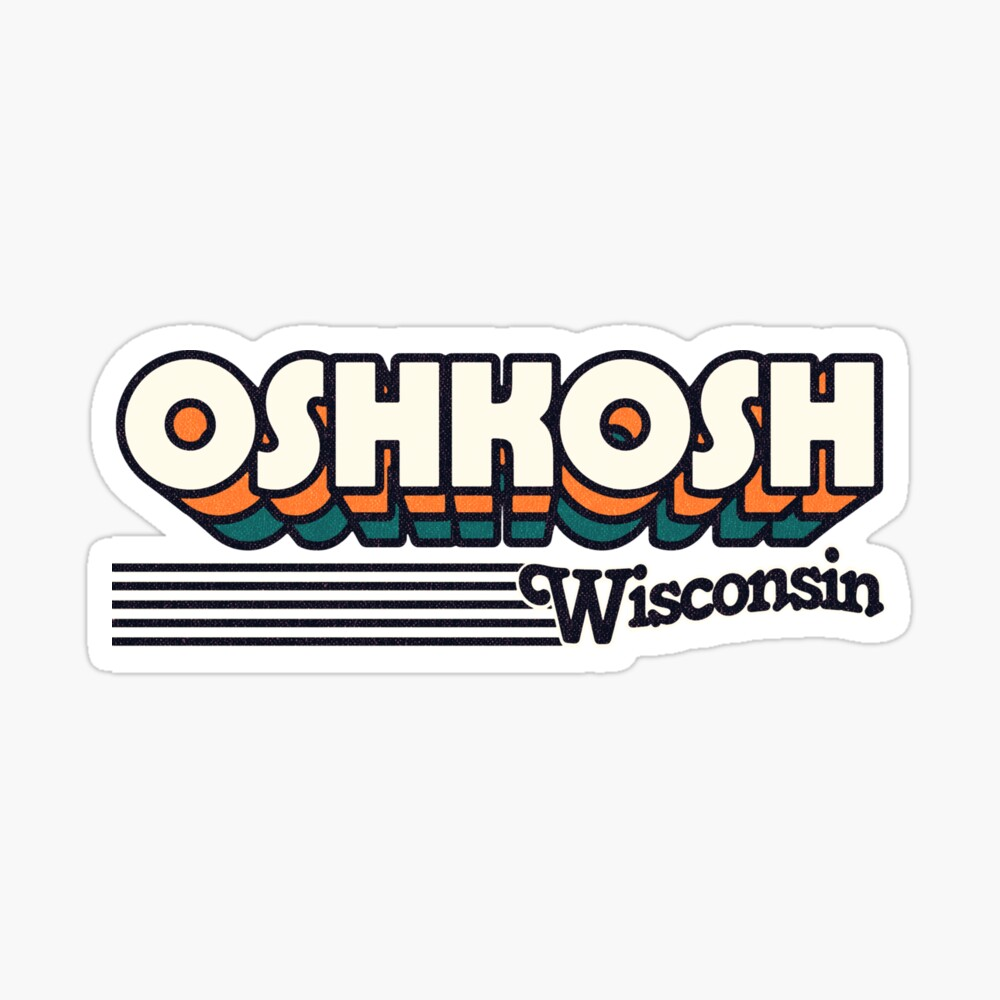 Oshkosh, Wisconsin | Retro Stripes Sticker