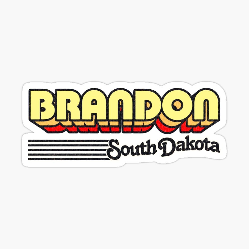 Brandon, South Dakota   Retro Stripes Sticker