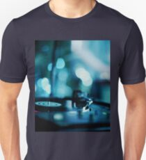 House music dj deejay turntable in nightclub party in Ibiza Spain blue digital photograph T-Shirt