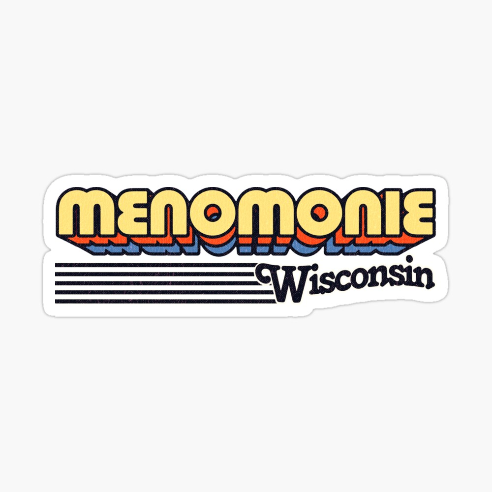 Menomonie, Wisconsin | Retro Stripes Sticker