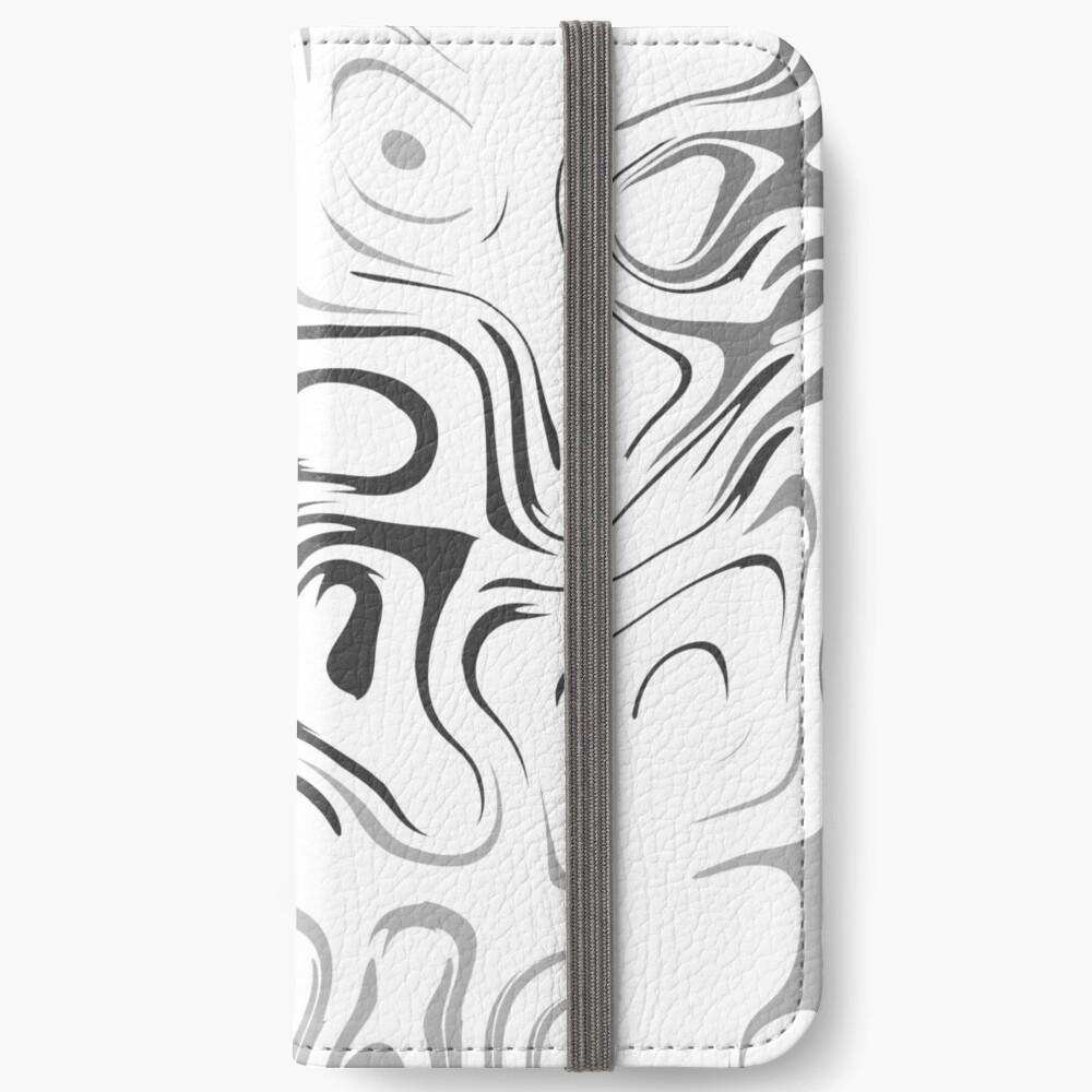 Black And White Liquid iPhone Flip-Case