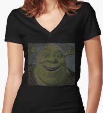 SHREK - Entire Script - With Shrek Face Women's Fitted V-Neck T-Shirt