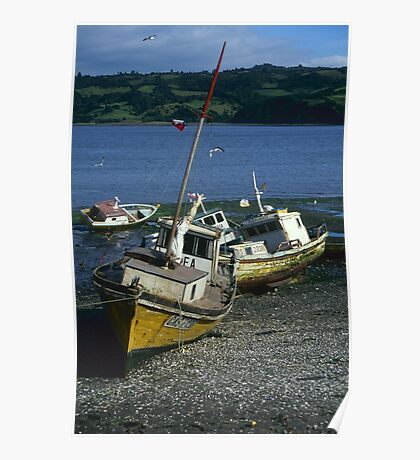 Fishing boats, Chiloe, Chile Poster