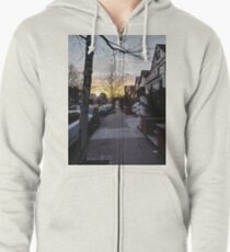 New York, Manhattan, Brooklyn, New York City, architecture, street, building, tree, car,   Zipped Hoodie
