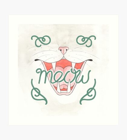 Cat's Meow // Illustration of Smiling Cat with Calligraphy Art Print