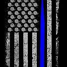 Crochet USA Flag (The Thin Blue Line) by wantneedlove