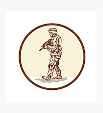 American Soldier Rifle Walking Circle Cartoon Photographic Print