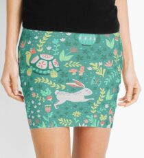 Spring Pattern with Bunnies and Turtles Mini Skirt