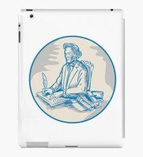 Victorian Gentleman Quill Signing Cartoon iPad Case/Skin