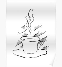 Black and white ink drawing of a coffee cup. Poster