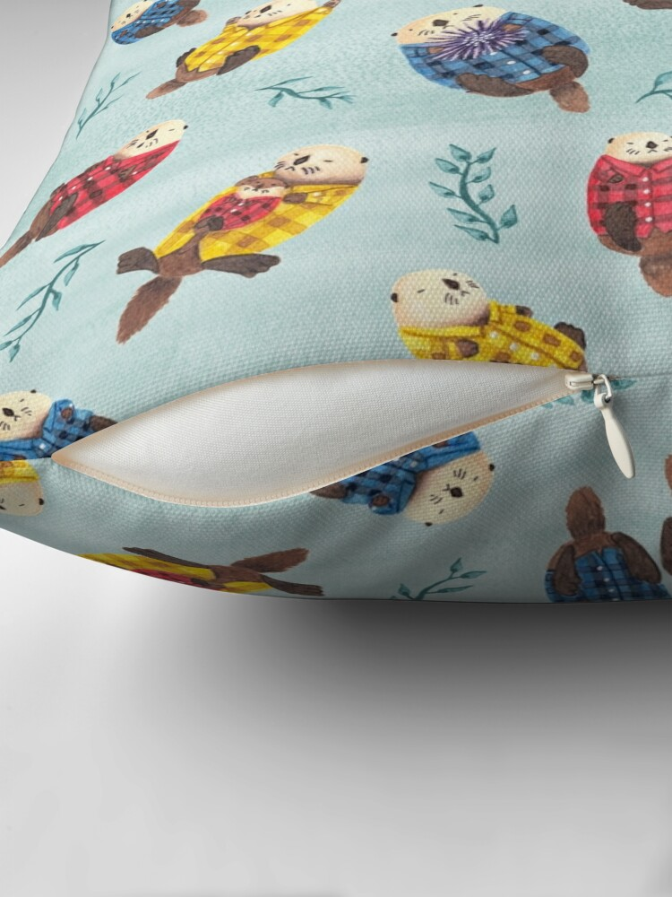 Alternate view of Sea Otters Wearing Plaid Throw Pillow