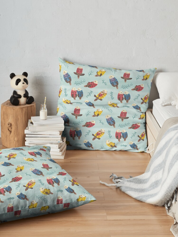 Alternate view of Sea Otters Wearing Plaid Floor Pillow