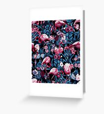 Floral and Flamingo VIII Greeting Card