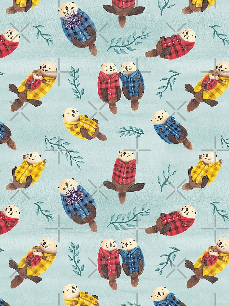 Sea Otters Wearing Plaid by emseeitch