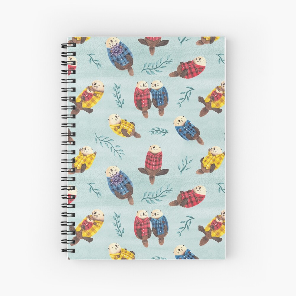 Sea Otters Wearing Plaid Spiral Notebook