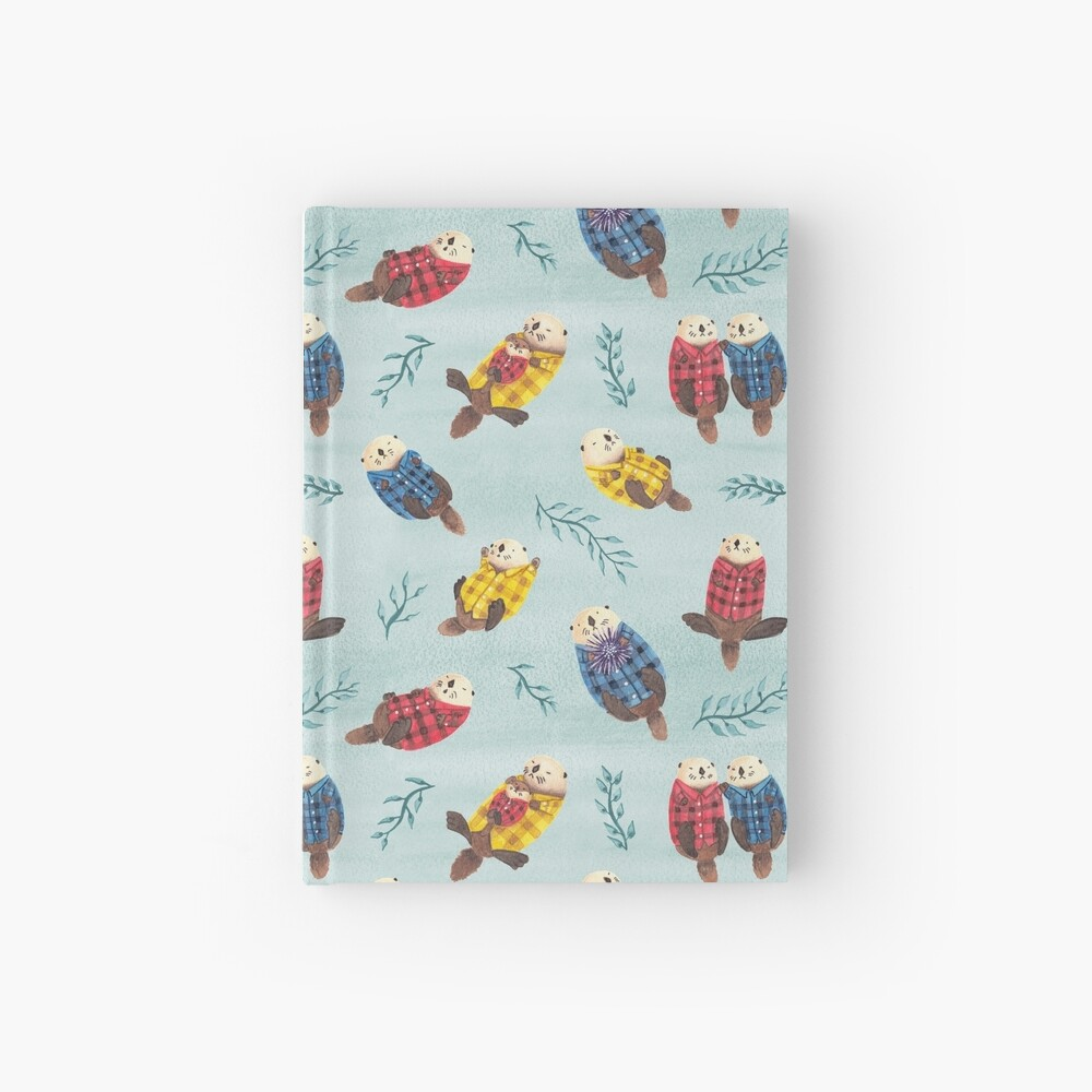 Sea Otters Wearing Plaid Hardcover Journal