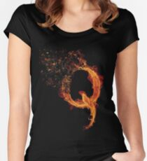 QAnon Fiery Q For Conspiracy  Lightning Theorist T-Shirt by Scralandore Design Women's Fitted Scoop T-Shirt