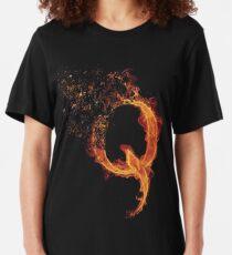 QAnon Fiery Q For Conspiracy  Lightning Theorist T-Shirt by Scralandore Design Slim Fit T-Shirt