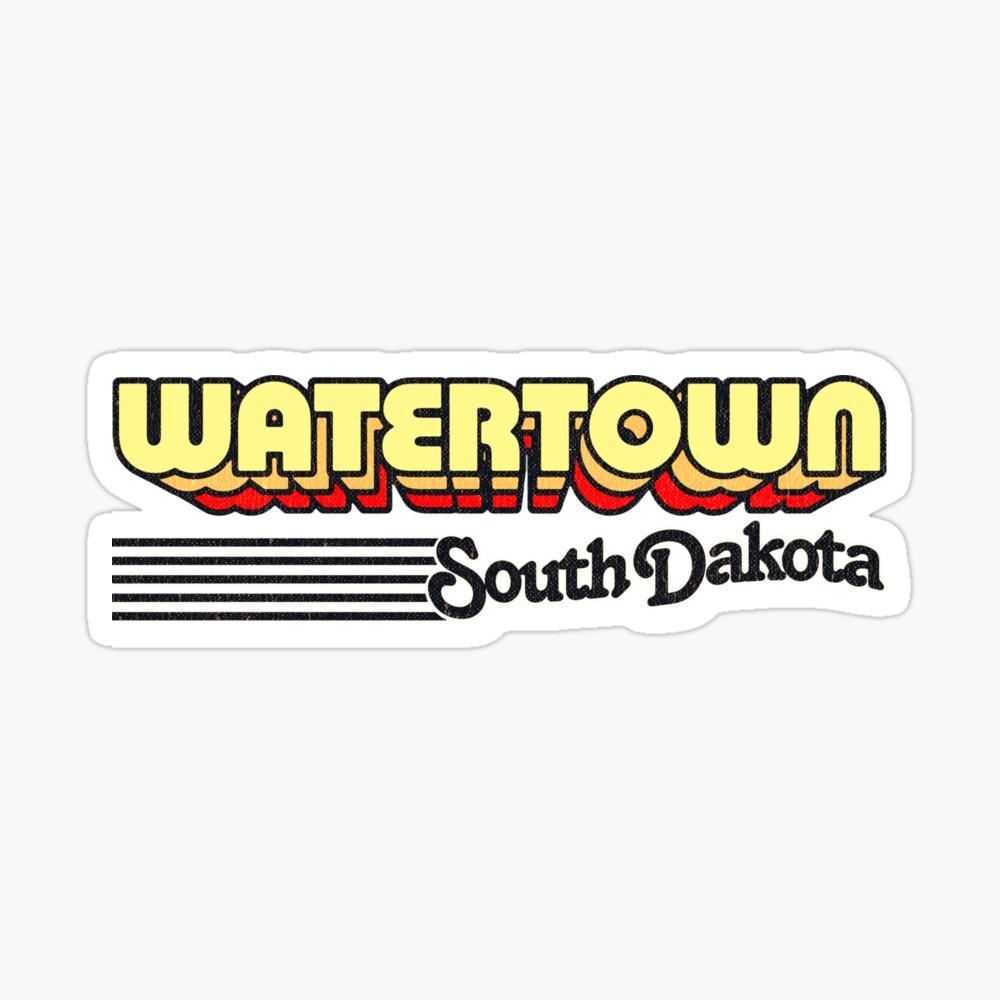 Watertown, South Dakota   Retro Stripes Sticker