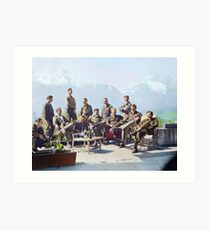 Dick Winters and his Easy Company (HBO's Band of Brothers) lounging at Eagle's Nest, Hitler's former residence in the Bavarian Alps, 1945.  Art Print