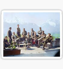 Dick Winters and his Easy Company (HBO's Band of Brothers) lounging at Eagle's Nest, Hitler's former residence in the Bavarian Alps, 1945.  Sticker