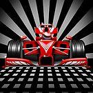 Formula 1 Red Race Car by BluedarkArt
