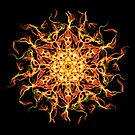 Mystic Spirit Awakening -  Fiery Transcendence Intuitive Energy Mandala. by Leah McNeir