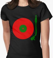 Red Green DJ Vinyl Record Turntable Womens Fitted T-Shirt
