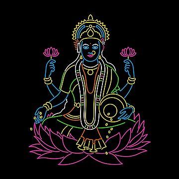 Neon Lakshmi Goddess by tshirtbaba