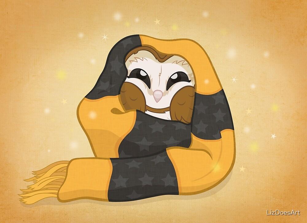 Cozy Barn Owl by LizDoesArt