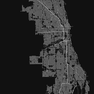 Chicago, Illinois, USA Street Network Map Graphic by ramiro