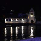 Vlacherna Church at Night. Island of Corfu, Greece by Igor Pozdnyakov