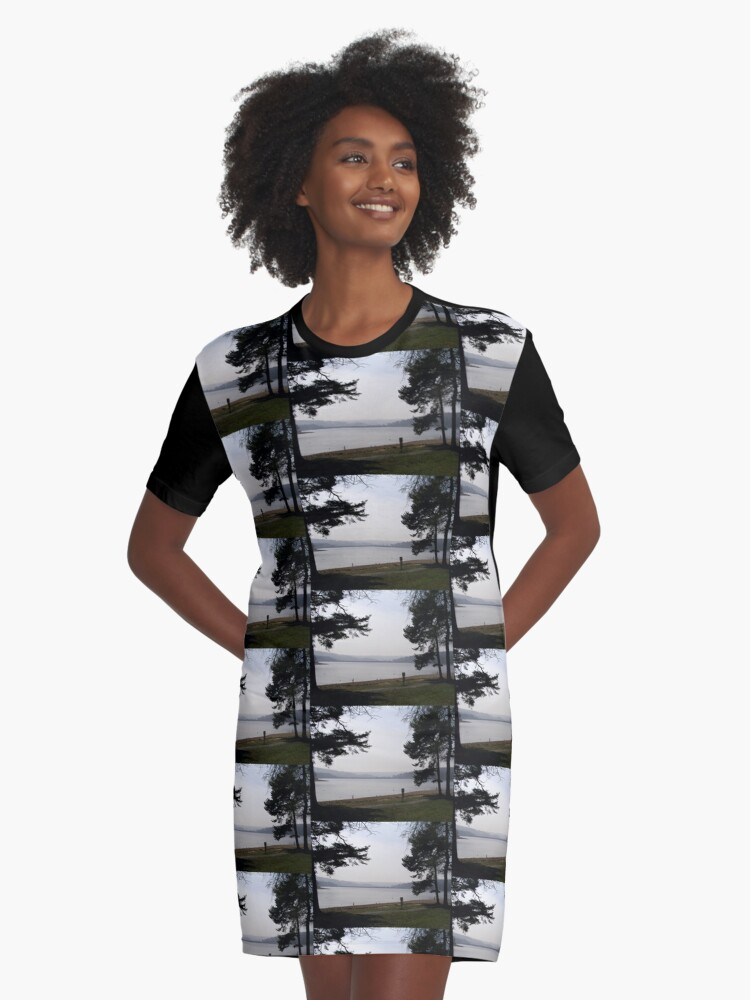 Misty Day Graphic T-Shirt Dress Front