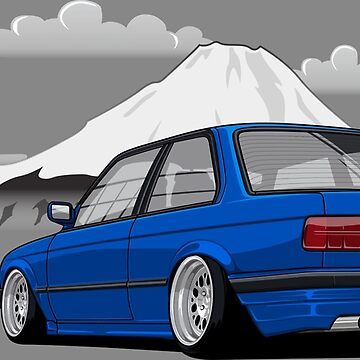Stanced out E30 Blue by StickerNation