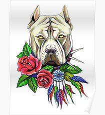 Pit bull dog drawing  print with flowers Poster