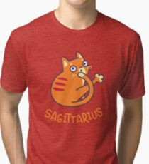 Funny Sagittarius Cat Horoscope Tshirt - Astrology and Zodiac Gift Ideas! Tri-blend T-Shirt