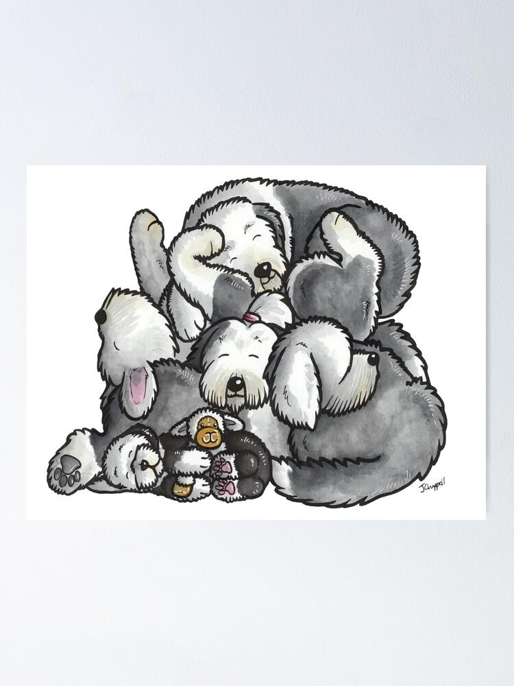 Old English Sheepdog Sleeping Pile Cartoon Poster