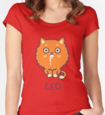 Funny Leo Cat Horoscope Tshirt - Astrology and Zodiac Gift Ideas! Women's Fitted Scoop T-Shirt